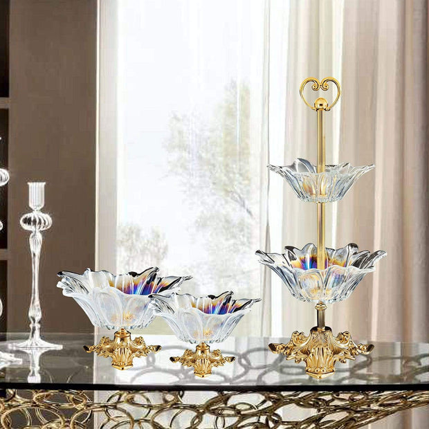 VERONA 2-TIER CLEAR GLASS BOWL - DC6143/OR