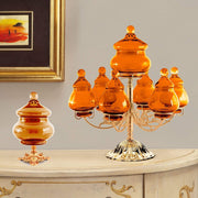 ROMA CENTERPIECE 7 BOXES GLASS AMBER - DC6152/OR-AM