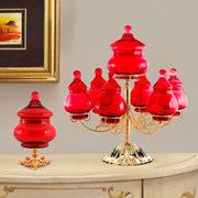 ROMA CENTERPIECE 7 BOXES GLASS RED  - DC6152/OR-RS