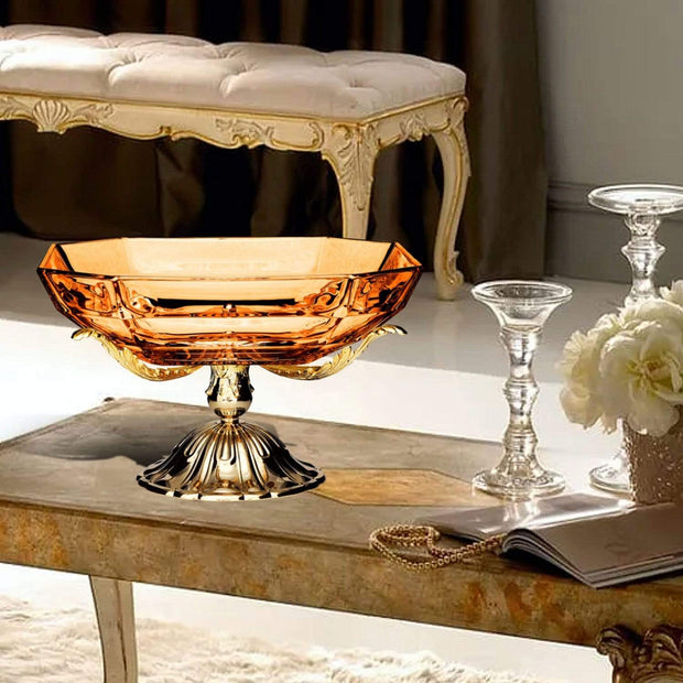 ROMA CENTERPIECE AMBER GLASS 35 X 35 X H20 CM - DC6153/OR-AM