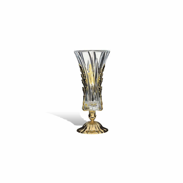 DUBAI VASE CLEAR GLASS GOLD METAL BASE WITH LEAVES - DC3203