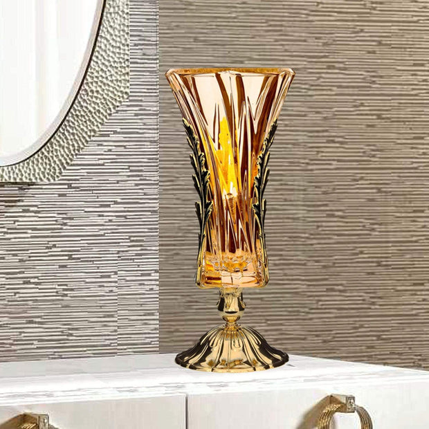 DUBAI VASE AMBER GLASS GOLD METAL BASE WITH LEAVES - DC3203/OR-AM