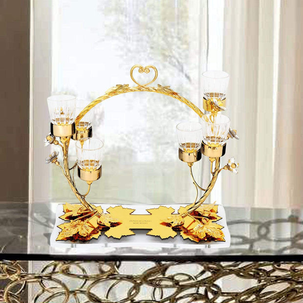 CIRCLE CANDLE HOLDER IN GOLD METAL WITH 6 GLASS - DC6172 GOLD
