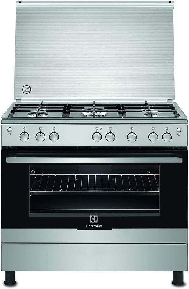 Electrolux ELUX 90X60 FULL GAS WITH TURNSPITCAST IRON PAN SUPPORTSBRUSHED STEEL COLOR.-EKG912A1OX - Jashanmal Home