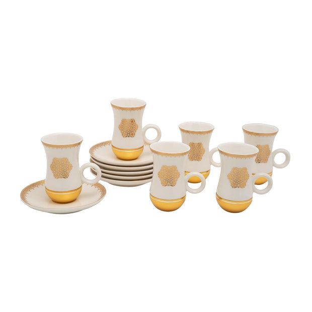Amber Porcelain Larisa Istikan Cup Set - Gold and White, 12 Pieces - AM3373-S28/026/12PC