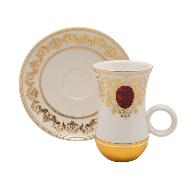 MARJANI RED GOLD 12PC SET ISTIKAN CUP AND SAUCER