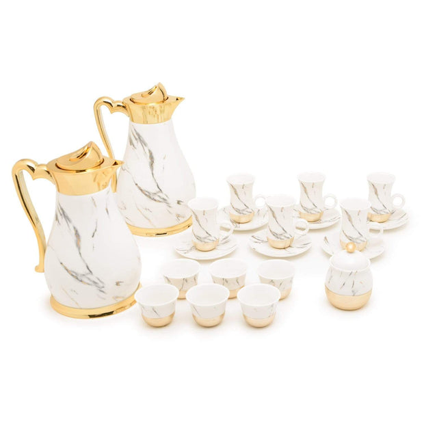Am Dilwen Gold with Decorated Flask Tea Set - 22 Pieces - AM9415-S21/042 - Jashanmal Home