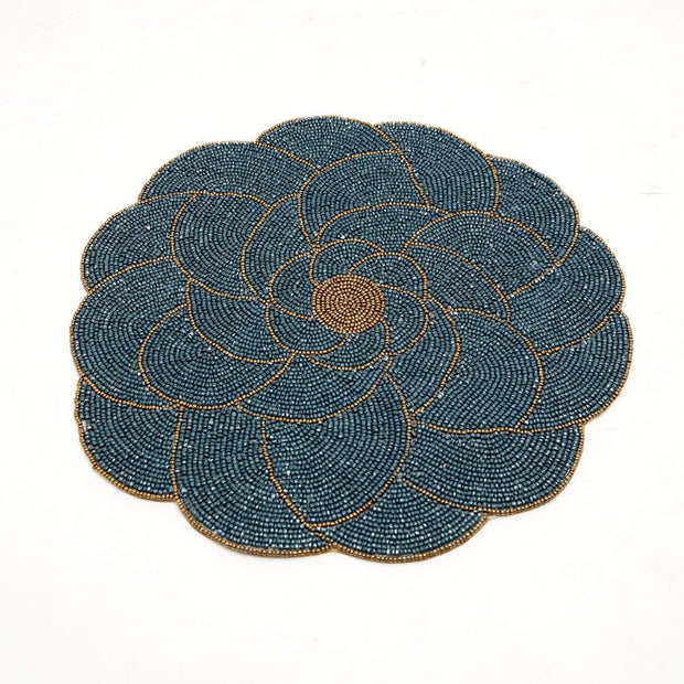 ARVIND DAISY GLS BEADED PLACEMAT TEAL BLU/GLD 36X36 - PM172177