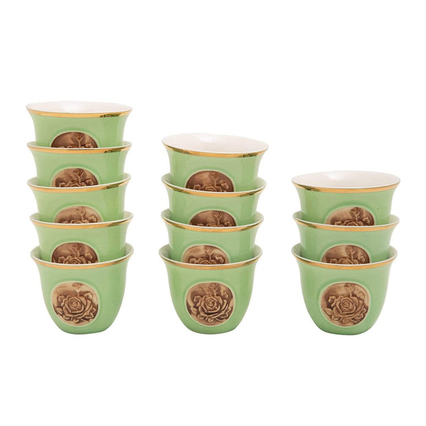 BANBERRY PORCELAIN 12PC CAWA CUPS BC GRN GOLD LINE - SC012B