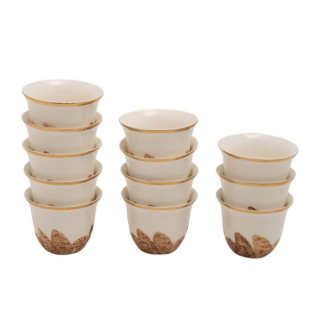 BANBERRY PORCELAIN 12PC CAWA CUPS BC GOLD LINE - SC003B