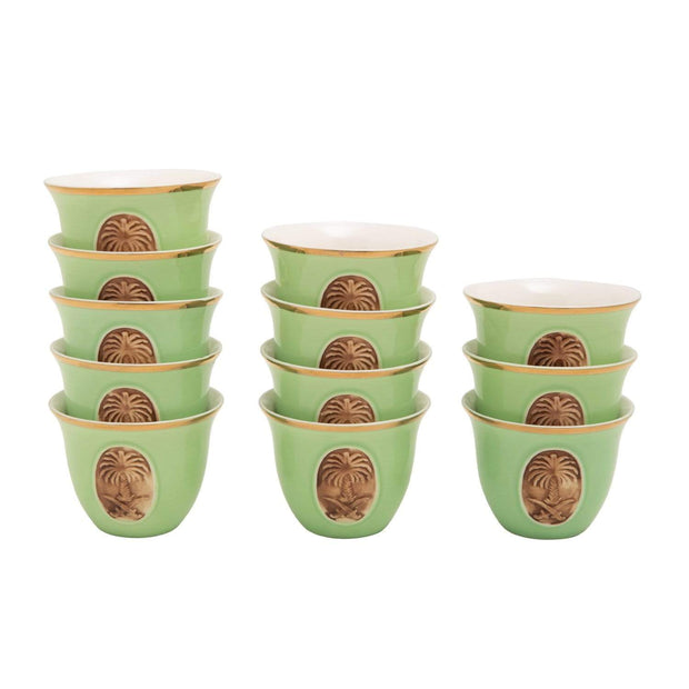 BANBERRY PORCELAIN 12PC CAWA CUPS BC GRN GOLD LINE - SC010B