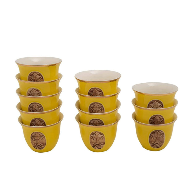BANBERRY PORCELAIN 12PC CAWA CUPS BC YLW GOLD LINE - SC010C