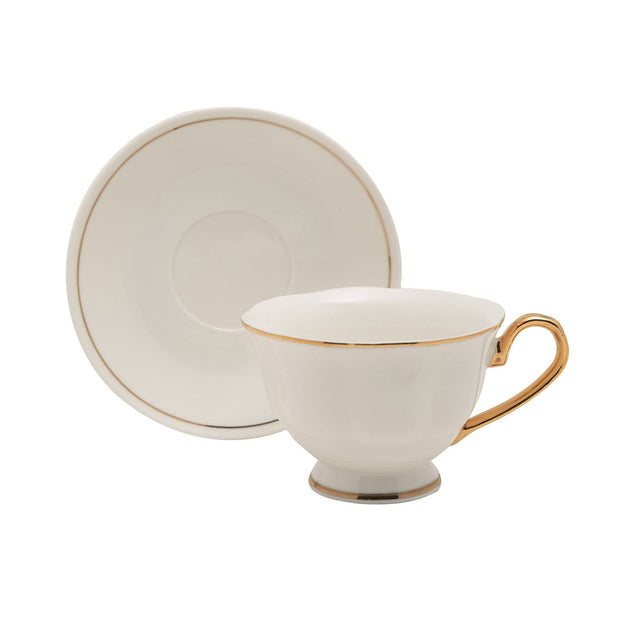 12PC ENGLISH TEA CUP AND SAUCER GOLD LINE GLAZE BONE CHINA - T-1903