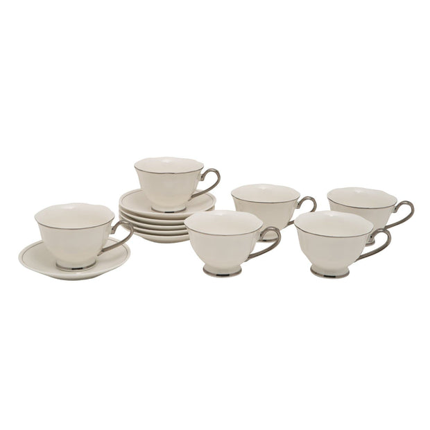 12PC ENGLISH TEA CUP AND SAUCER PLATINUM LINE GLAZE BONE CHINA