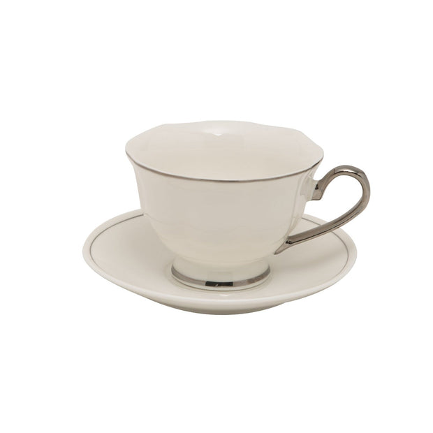 12PC ENGLISH TEA CUP AND SAUCER PLATINUM LINE GLAZE BONE CHINA - T-1904