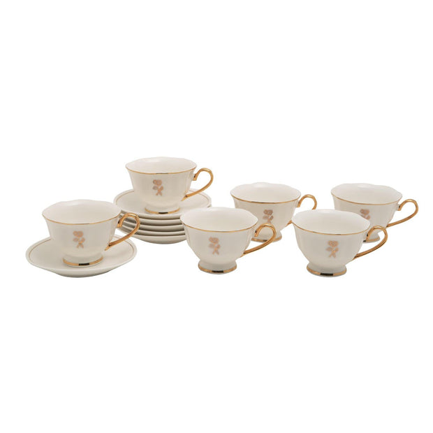 12PC ENGLISH TEA CUP AND SAUCER GOLD LINE GLAZE BONE CHINA