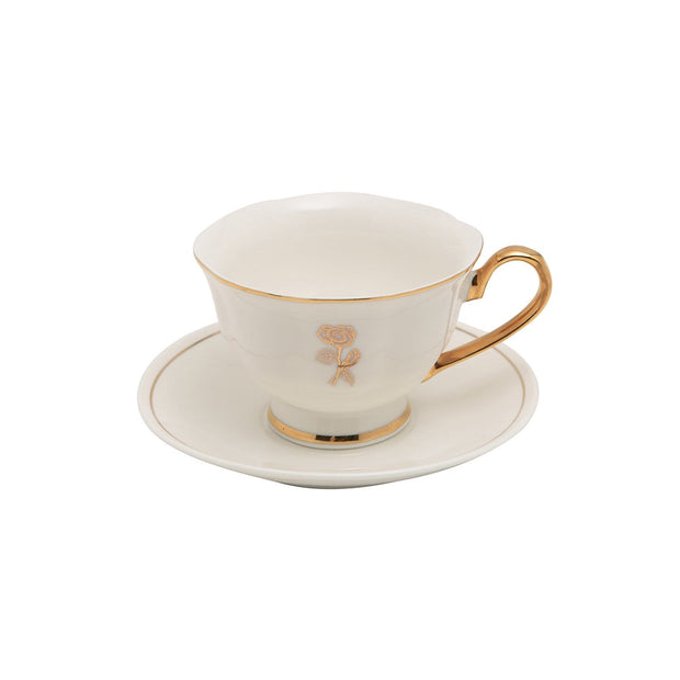 12PC ENGLISH TEA CUP AND SAUCER GOLD LINE GLAZE BONE CHINA - T-1911