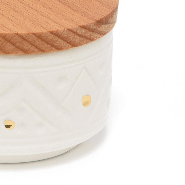 Chabichic Ceramic Mini Engraved Box - White and Brown - CCV.04.46G - Jashanmal Home