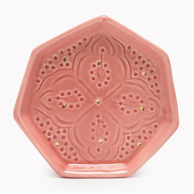 Chabichic Ceramic Engraved Gold Octagon Tray - Light Pink - CCV.04.15RCG - Jashanmal Home