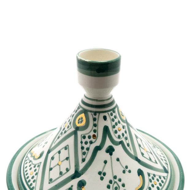 Chabichic Ceramic Zwak Gold Tagine Dish - Green and White, Large - CCV.05.27ZVG - Jashanmal Home
