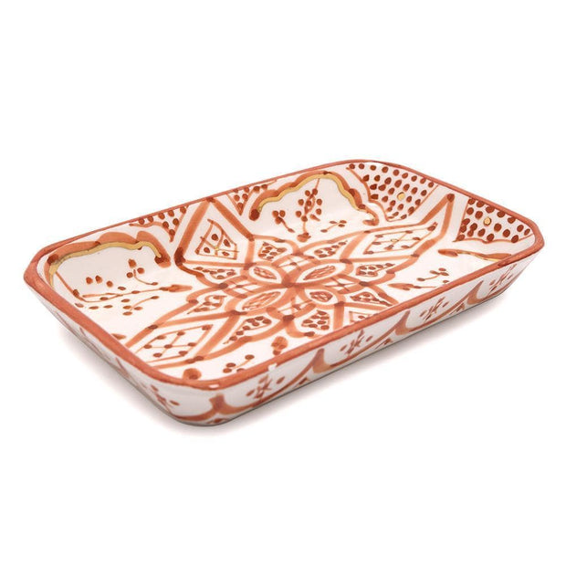 Chabichic Ceramic Zwak Rectangle Tray - Marsala and White - CCV.05.14ZMG