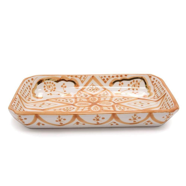 Chabichic Ceramic Zwak Rectangle Tray - Light Orange and White - CCV.05.14ORCG