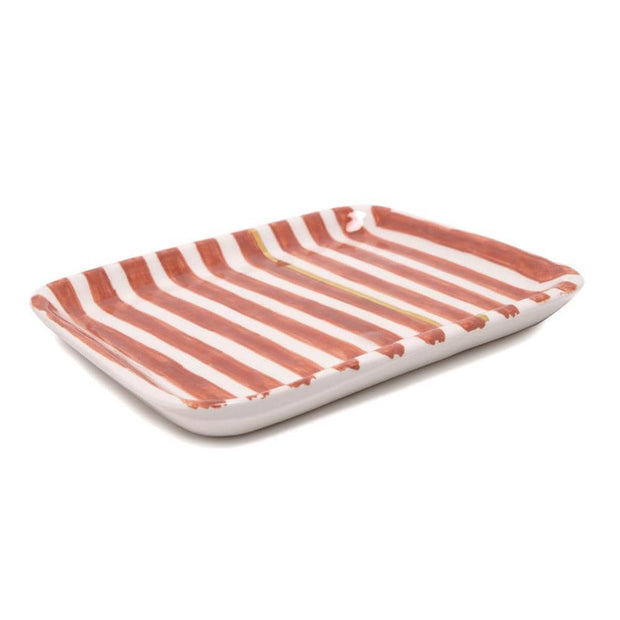Chabichic Ceramic Striped Tray - Dark Orange and White - CCV.01.38ORFG