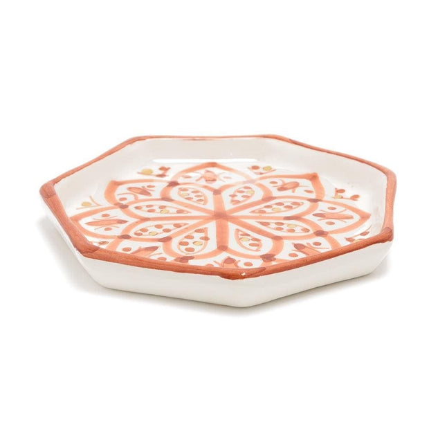 Chabichic Ceramic Zwak Octagon Tray - Marsala and White - CCV.05.15ZMG - Jashanmal Home