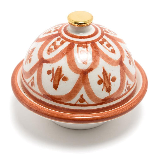 Chabichic Ceramic Zwak Butter Dish - Marsala and White - CCV.05.12ZMG - Jashanmal Home