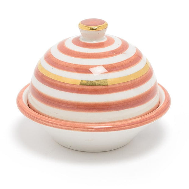 Chabichic Ceramic Striped Butter Dish - Dark Orange and White - CCV.01.12ORFG - Jashanmal Home