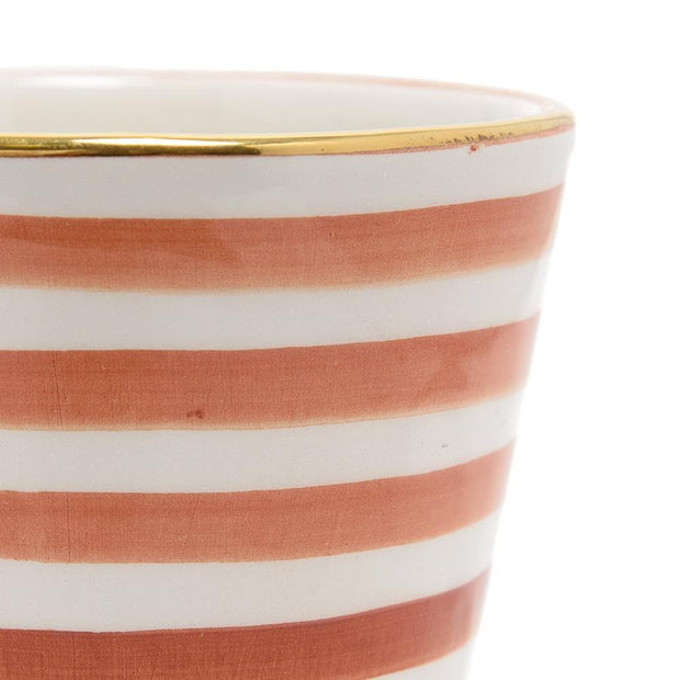 Chabichic Ceramic Striped Coffee Mug - Marsala and White - CCV.01.35RMG - Jashanmal Home