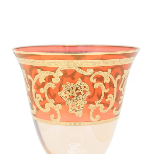 Combi Clarice Goblet Set - Red and Amber, 260 ml, Large, 6 Piece - G597Z-RED&AM/96 - Jashanmal Home