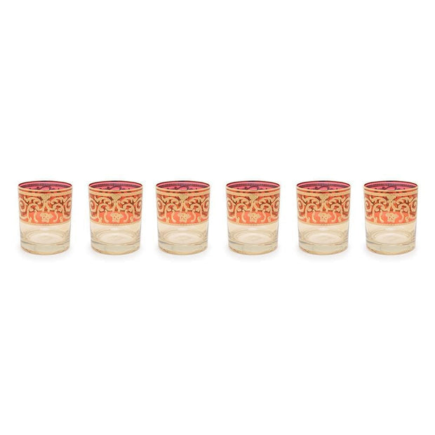 Combi Clarice Tumbler Set - Red and Amber, 260 ml, Short, 6 Piece - G597Z-RED&AM/27/1 - Jashanmal Home