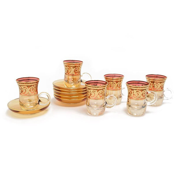 Combi Clarice Tea Cup and Saucer Set - Red and Amber, 12 Piece - G597Z-RED&AM/35 - Jashanmal Home