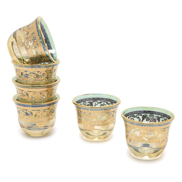 Combi Geneva Mocca Cup Set - Green and Amber, 6 Piece - G694Z-AMGRN/48 - Jashanmal Home