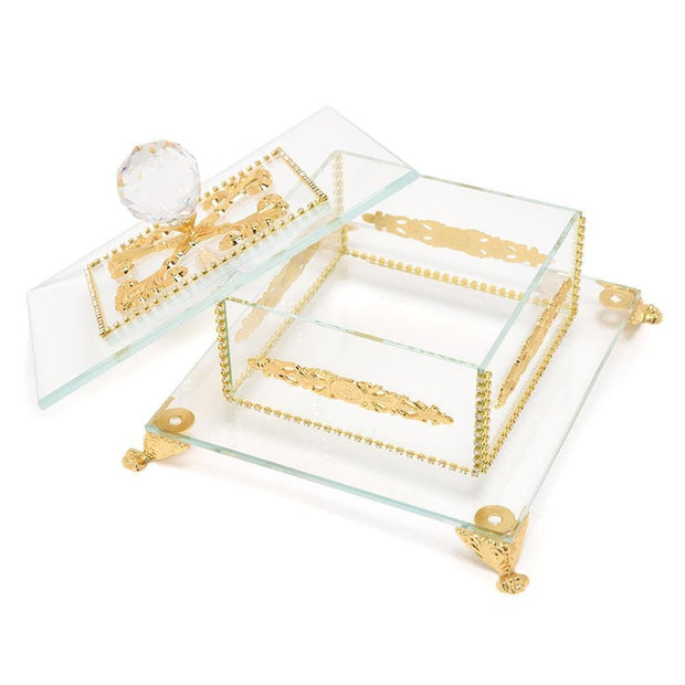 Debora Carlucci Glass Decorative Box with Metal Decor - Gold and Clear - DC5556/OR - Jashanmal Home