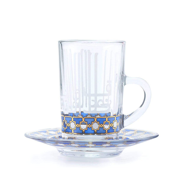 Dimlaj Asala Tea Cup and Saucer Set - Clear, Gold and Blue, 12 Pieces - 46676 - Jashanmal Home
