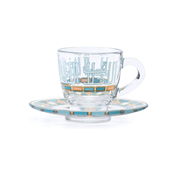 Dimlaj Asala Coffee Cup and Saucer Set - Clear, Gold and Green, 12 Pieces - 46711