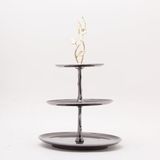 ALEXANDER MILLIE 3 TIER CAKE STAND GOLD FI BRASS & BLACK NICKEL PLATED ALUMINUM - 617043
