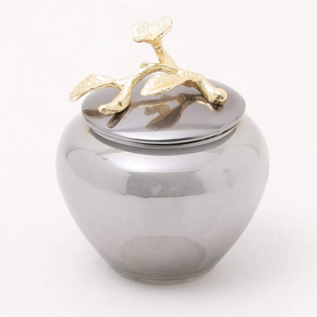 ALEXANDER MILLIE COTTON JAR GOLD FISHED BRASS & BLACK NICKEL PLATED ALUMINUM - 617149