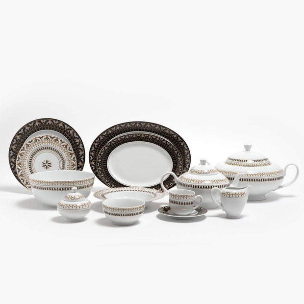 KAROLINA ACACIA BLACK 59PC DINNER SET - ACABLK/59DS
