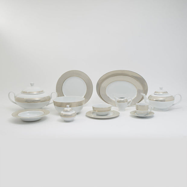 KAROLINA GINGHAM GOLD 83PC DINNER SET-GHMGLD/83DS