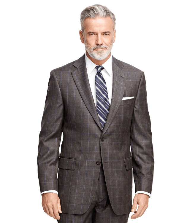 BROOKS BROTHERS SUIT1818 MADPLT F15 1818 BROWN PLAID WIT MEN'S SUITS - 100037011