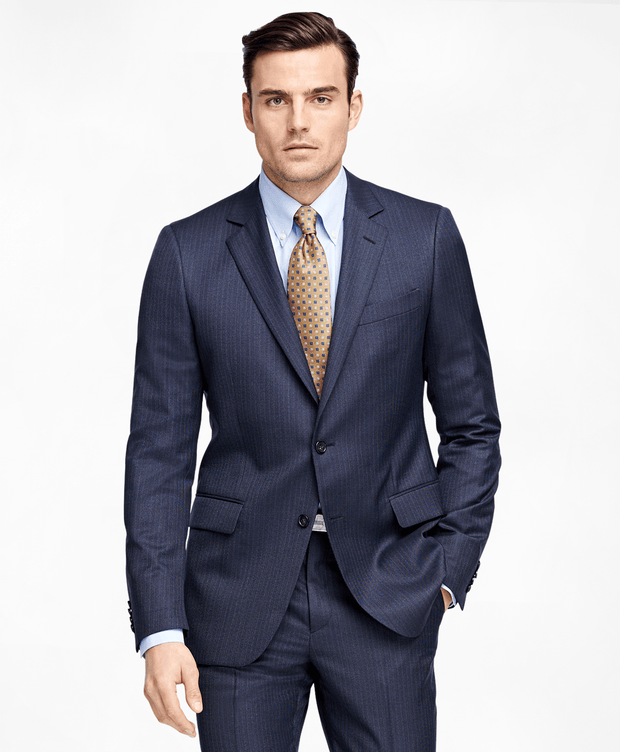 BROOKS BROTHERS SUIT1818 FITZPLN BLUE TIC W/ STRIPE MEN'S SUITS - 100037758