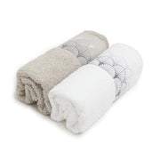 HIPNOZ 2PC TOWEL SET WHITE & GREY - 102-WHT/GRY - 102-WHT/GRY