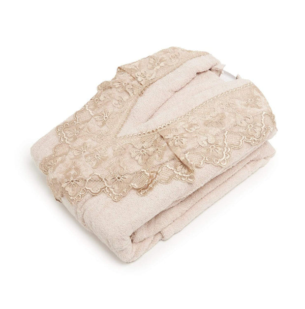 AHSEN 3PC BATHROBE SET BEIGE - 103-BGE - 103-BGE