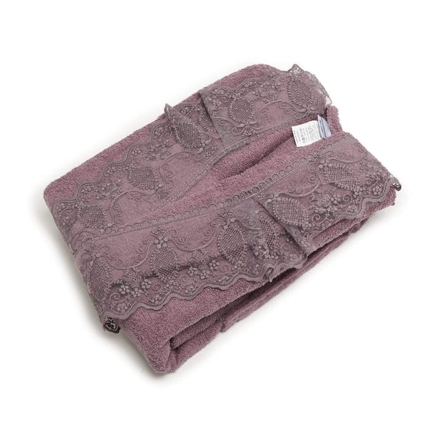 GIZEM 3PC BATHROBE SET PURPLE - 104-PUR - 104-PUR