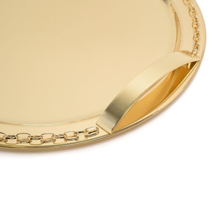 Pantazelos Gold Plated Set Chain Round Tray - Gold - Q-3080/GP - Jashanmal Home