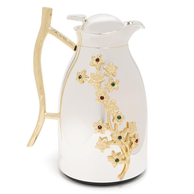 Pantazelos Silver and Gold Plated Flower Thermos - Silver and Gold - Q-1325/SPGP