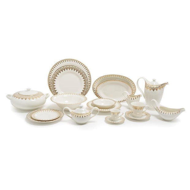 Porland Porselen Firuze Gold Dinner Set - 86 Piece - 04NEW86 - Jashanmal Home